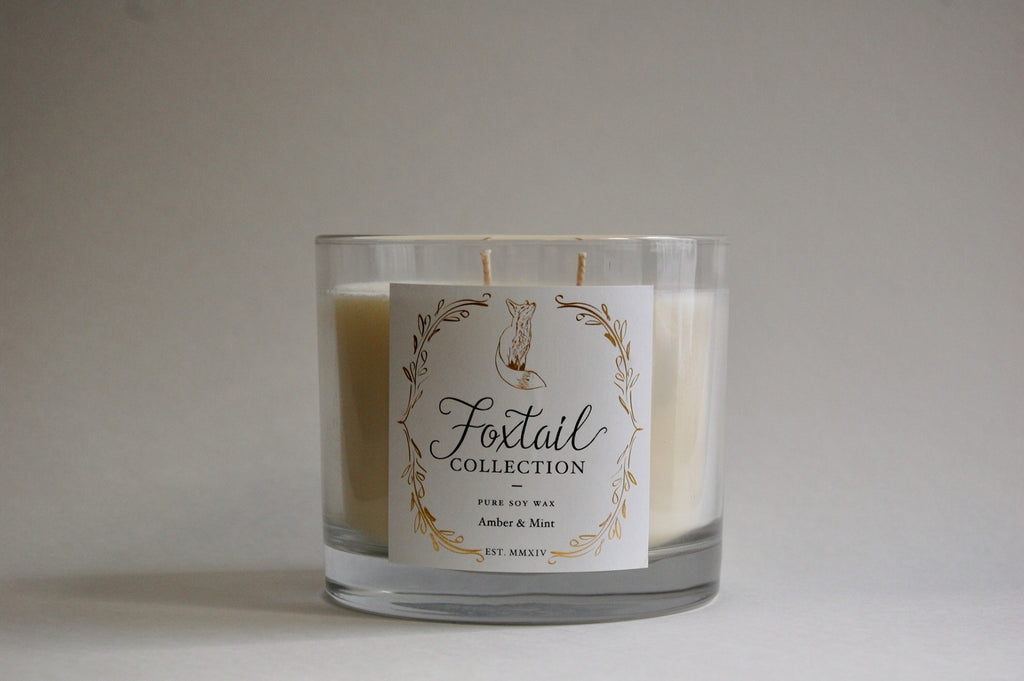 Amber & Mint - Large Glass Candle