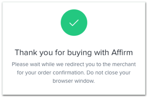 Affirm mobile screen confirming your loan