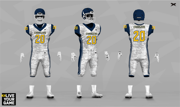 Chargers Xenith Uniform Design