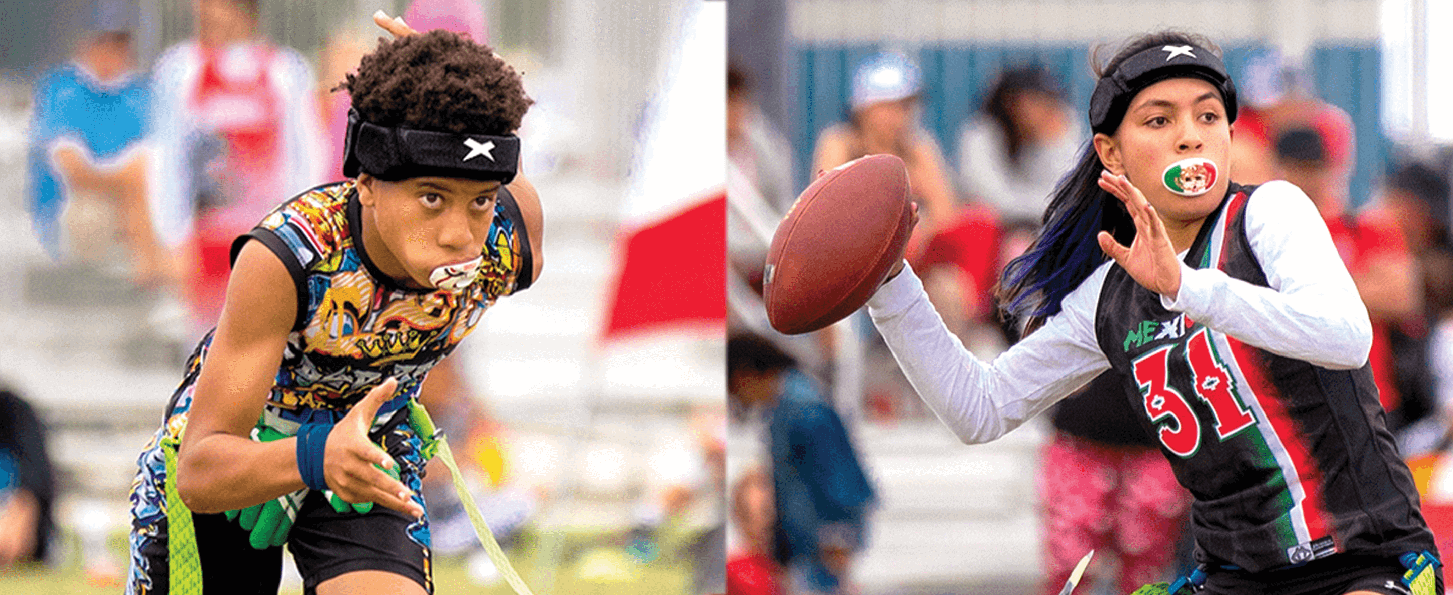 two young athletes wearing xenith loop. the female athlete is throwing a football and the male athlete is running.