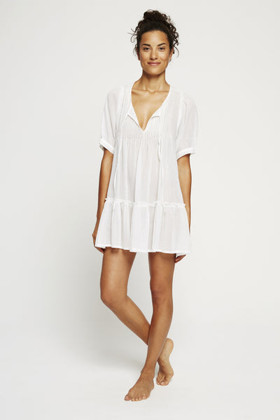 Pintuck Tunic-White