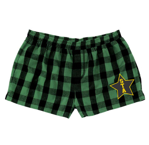 Green Buffalo Plaid Flannel Shorts