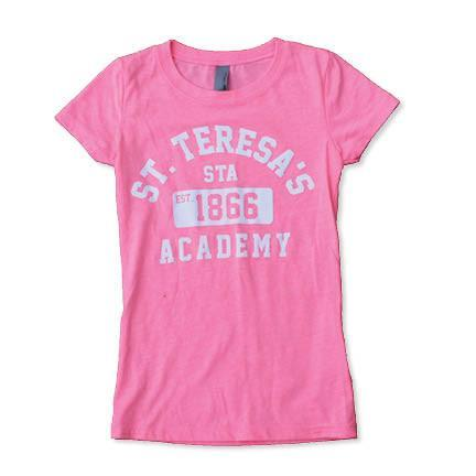 Youth St. Teresa's Academy Pink Est.1866 Vintage Crew T-Shirt