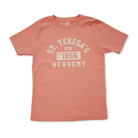 Youth Light Pink St. Teresa's Academy Est.1866 Vintage Crew T-Shirt