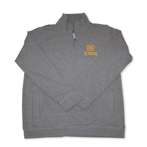 Embroidered Grey Sueded Quarter Zip