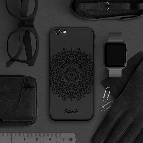 Mandala full protection iPhone 7 plus black case |【360°全面保護強化ガラスフィルム付き】iPhone 7 / 7+ / SE / 6s / 6s+ /5s ケース - Decouart