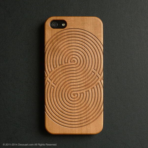 Real wood engraved infinity pattern iPhone case S002 - Decouart - 1