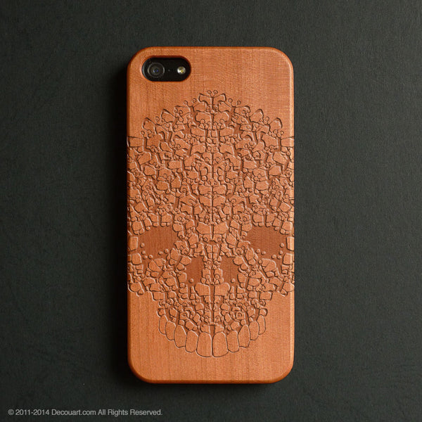 Real wood engraved skull pattern iPhone case S004 - Decouart - 1