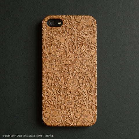 Real wood engraved floral pattern iPhone case S005 - Decouart