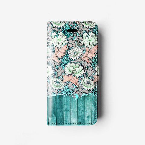 Floral iPhone wallet case W006 - Decouart