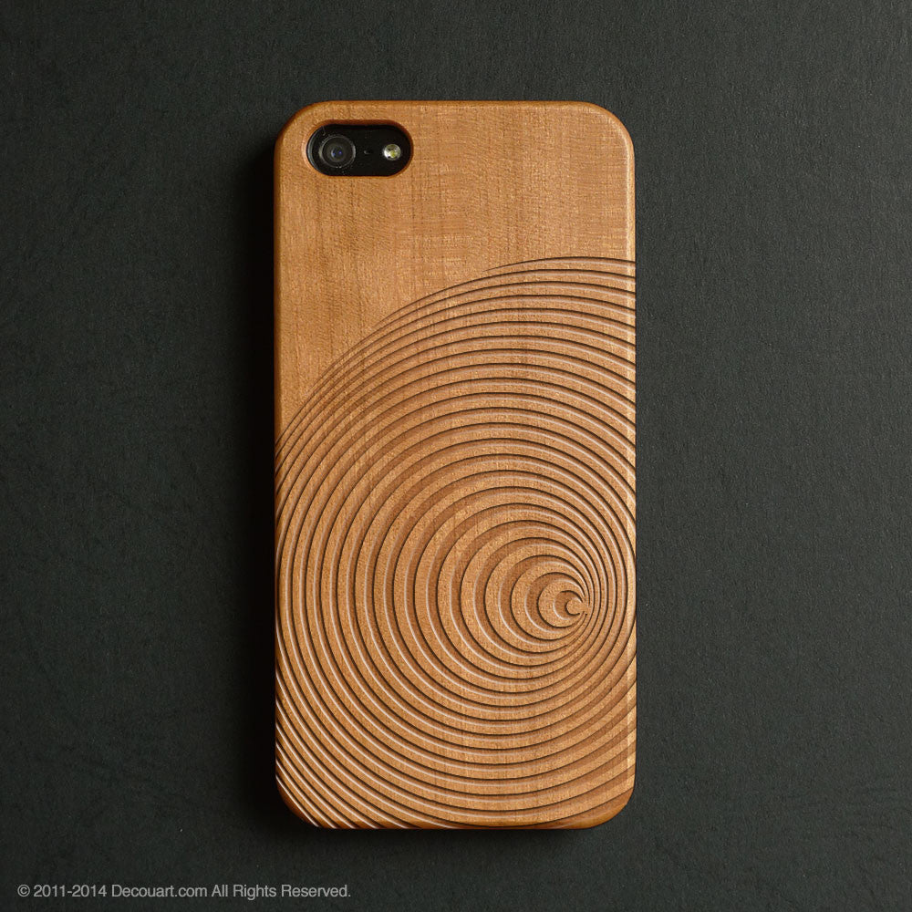 Real wood engraved circle lines pattern iPhone case S006 - Decouart