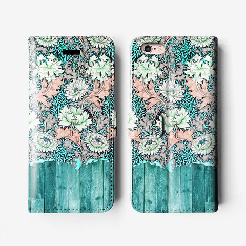 Floral iPhone 7 wallet case W006