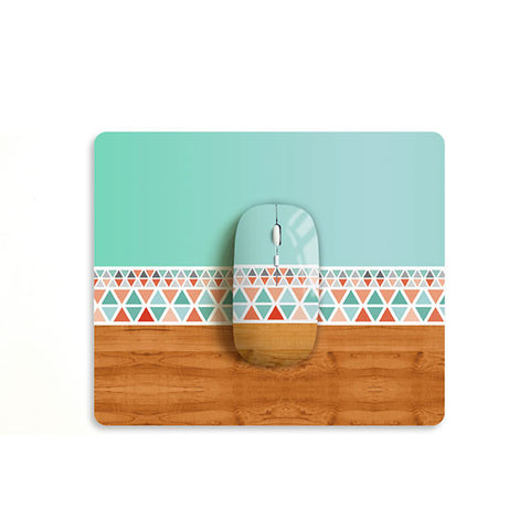 Aztec Mint wood mouse with matching mouse pad M006 - Decouart