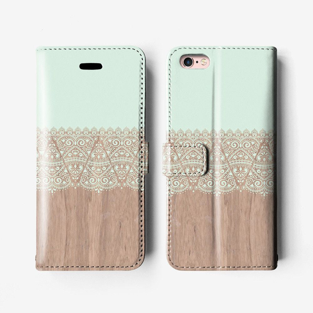 Mint lace iPhone wallet case W007 - Decouart