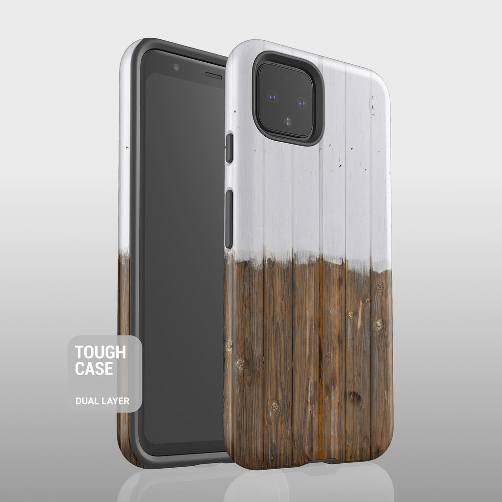 White wood grain stripes Google Pixel case S009