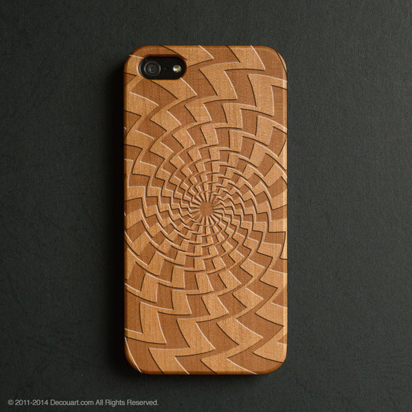 Real wood engraved geometric pattern iPhone case S009 - Decouart - 1
