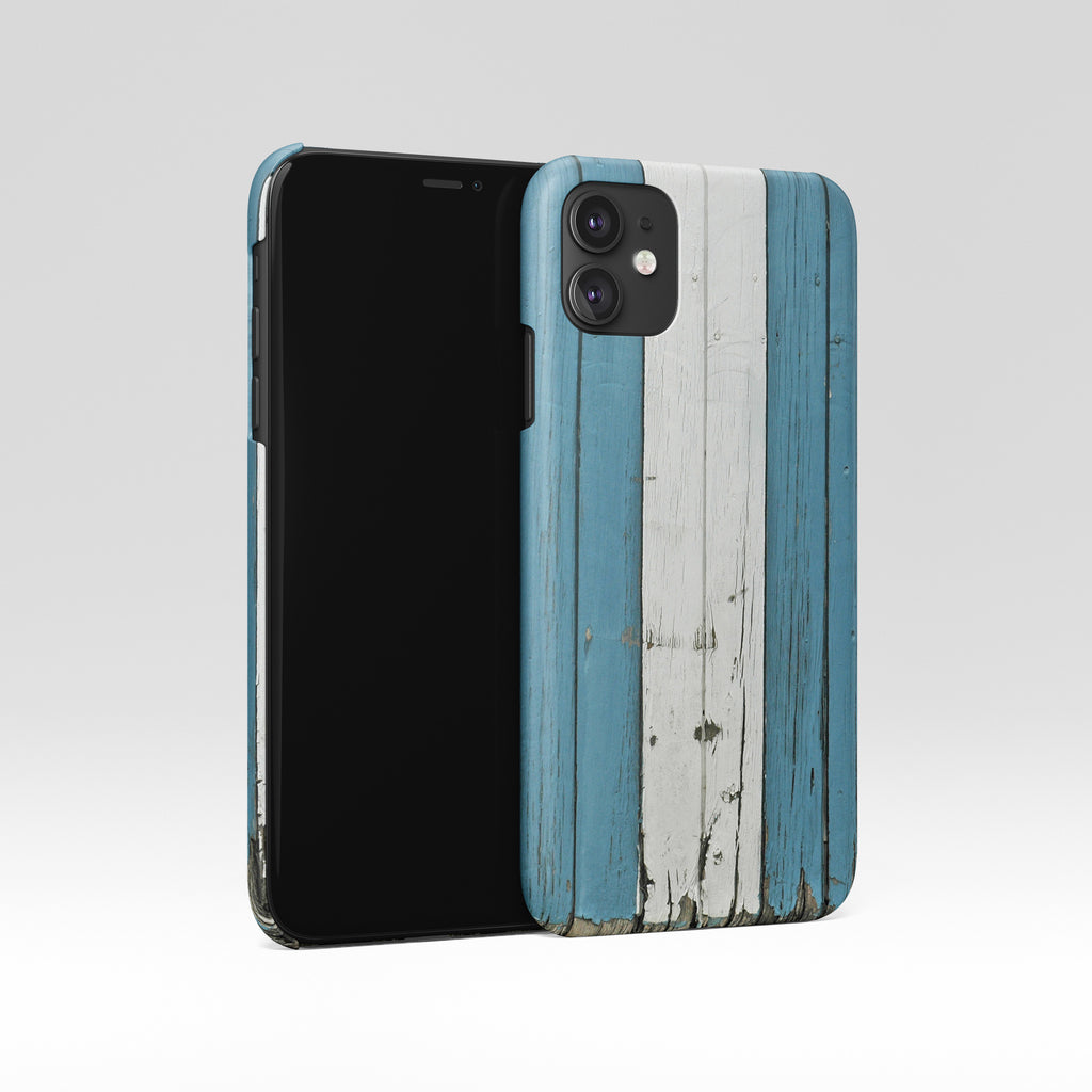 Blue white wood iPhone case