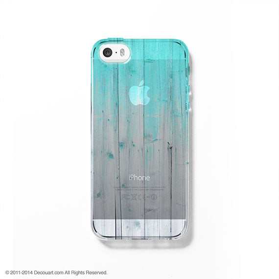 Mint wood clear printed iPhone 7 case S011 - Decouart - 1