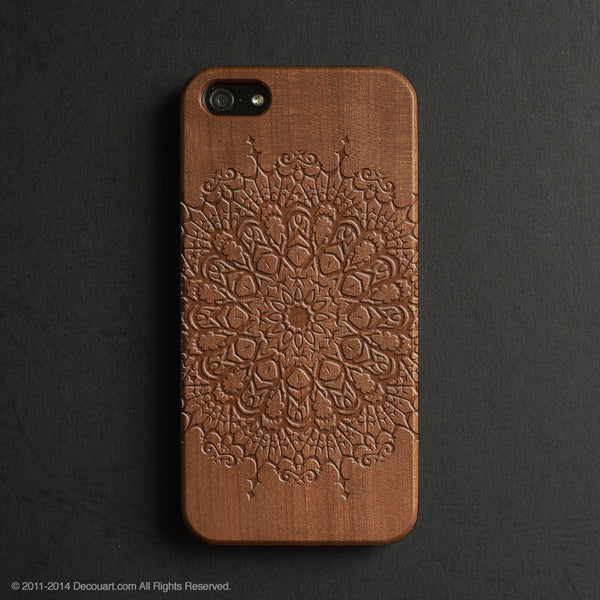Real wood engraved mandala pattern iPhone case S011 - Decouart