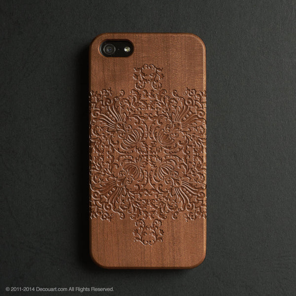 Real wood engraved mandala pattern iPhone case S012 - Decouart - 1