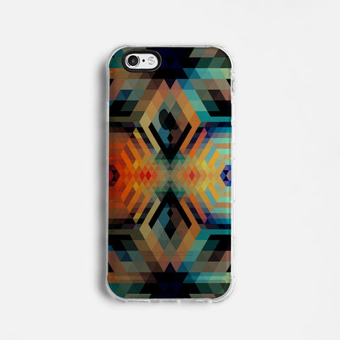 Colourful geometric clear printed iPhone 7 case S018
