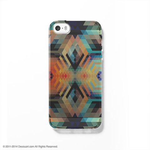 Colourful geometric clear printed iPhone 7 case S018 - Decouart