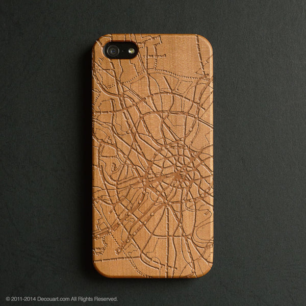 Real wood engraved map pattern iPhone case S019 - Decouart - 1
