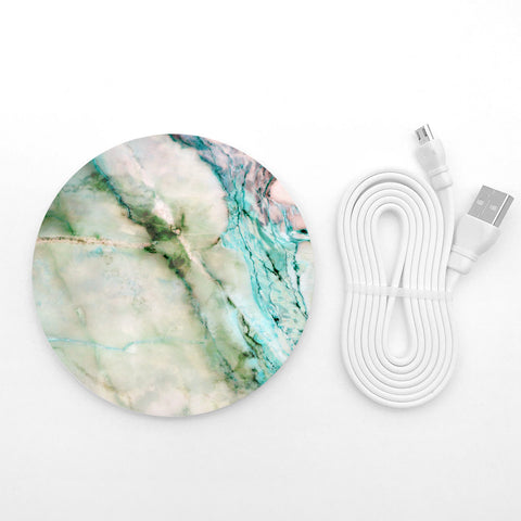 Green marble wireless charger - Decouart