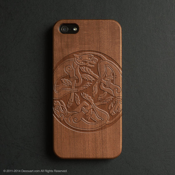 Real wood engraved mural pattern iPhone case S021 - Decouart - 1