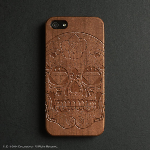 Real wood engraved sugar skull pattern iPhone case S022 - Decouart