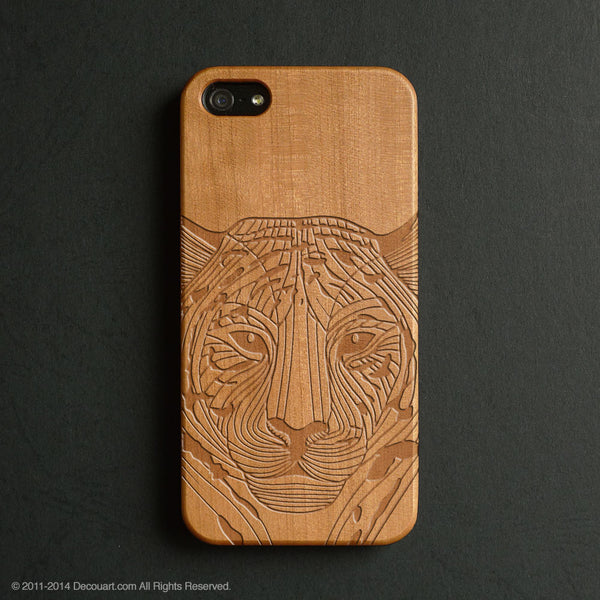 Real wood engraved tiger pattern iPhone case S024 - Decouart - 1