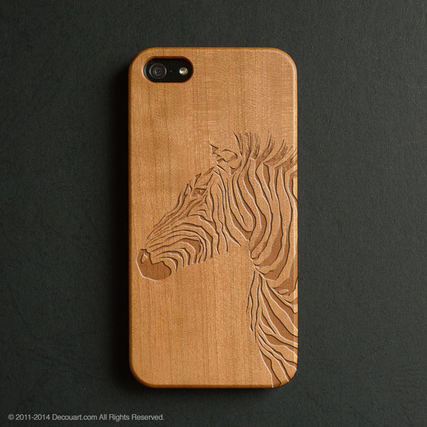 Real wood engraved zebra pattern iPhone case S025 - Decouart - 1