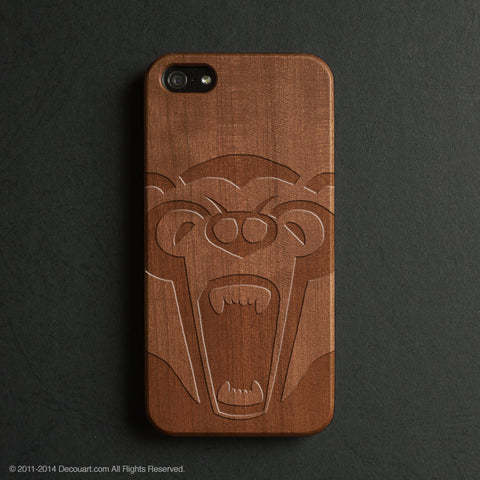 Bear real wood engraved iPhone case S027 - Decouart - 1