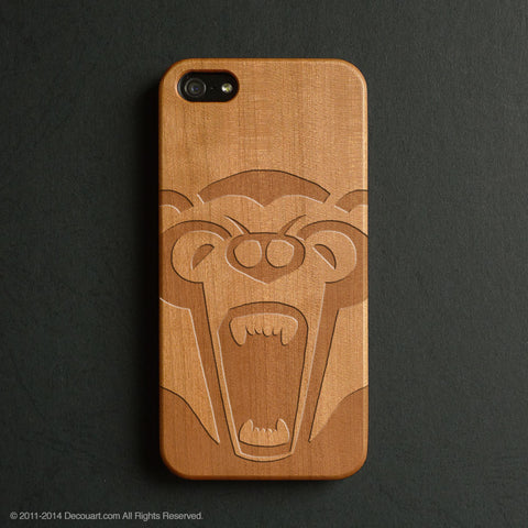 Bear real wood engraved iPhone case S027 - Decouart