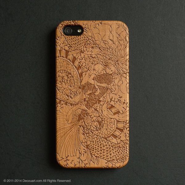 Real wood engraved mermaid pattern iPhone case S032 - Decouart - 1