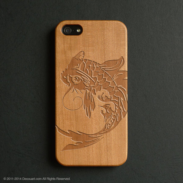 Real wood engraved koi pattern iPhone case S035 - Decouart