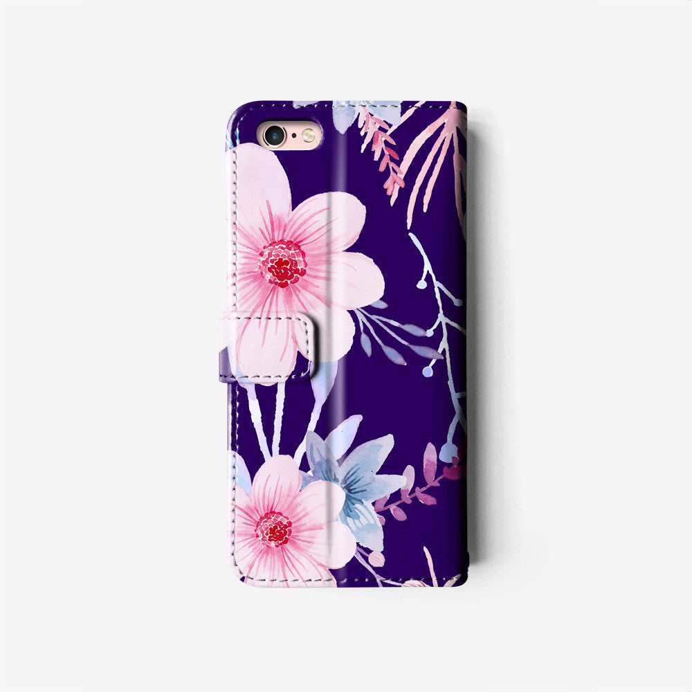 Floral iPhone wallet case W038 - Decouart