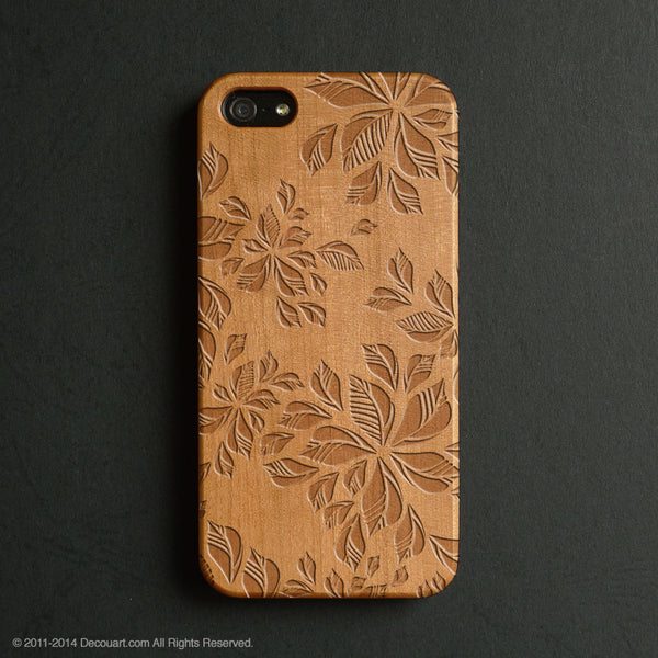 Real wood engraved floral pattern iPhone case S041 - Decouart