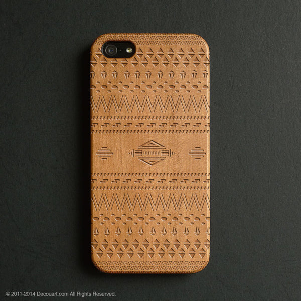 Real wood engraved aztec pattern iPhone case S042 - Decouart - 1
