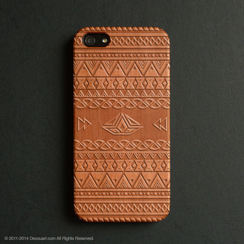 Real wood engraved aztec pattern iPhone case S043 - Decouart