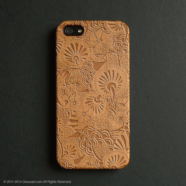 Real wood engraved floral pattern iPhone case S044 - Decouart - 1