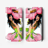 Floral girl iPhone wallet case W054 - Decouart