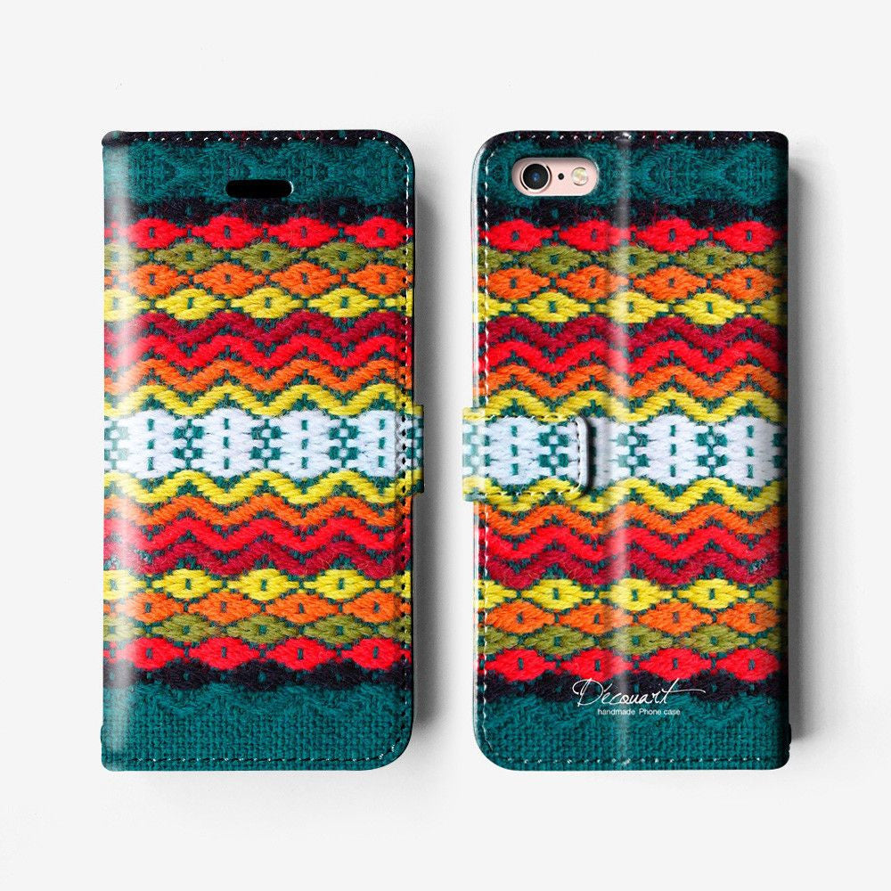 Crochet iPhone wallet case W056 (not real crochet) - Decouart