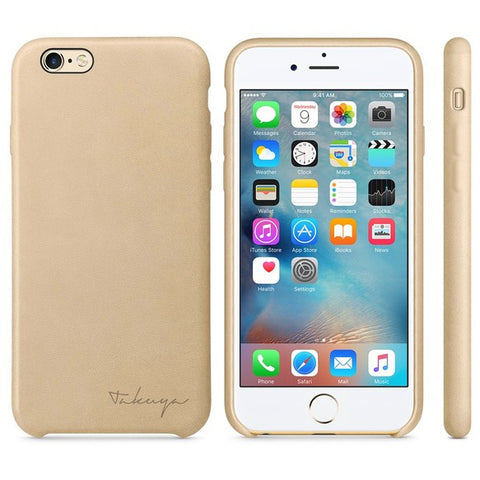Personalized iPhone 7 leather case - Gold