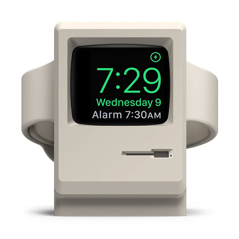 Mac classic Apple Watch dock with matching Apple Watch band