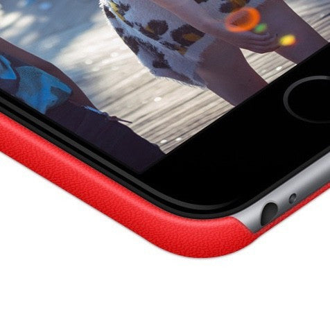 Personalized iPhone 7 leather case - Red