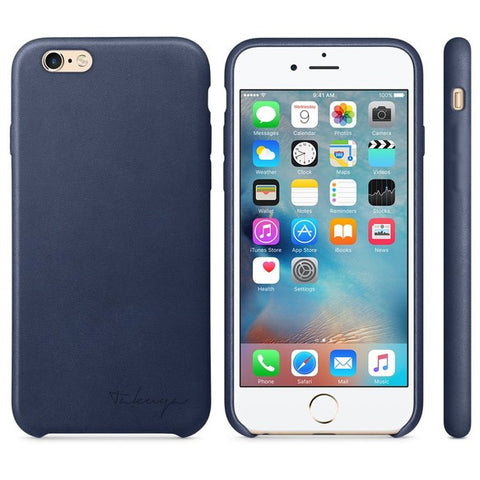 Personalized iPhone 7 leather case - Blue