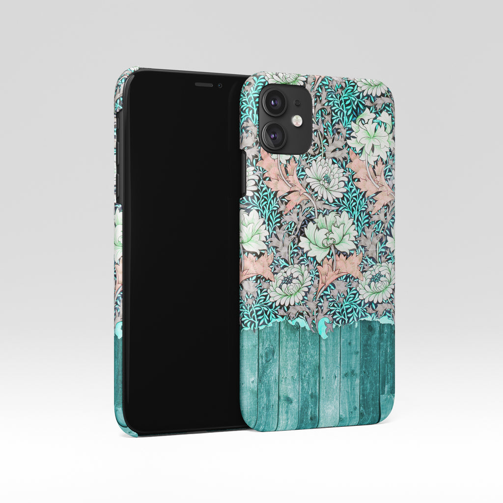 Mint wood floral iPhone 12 case S553
