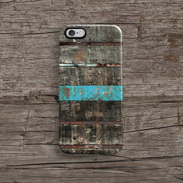 Wood with mint stripe iPhone 11 case S589 - Decouart