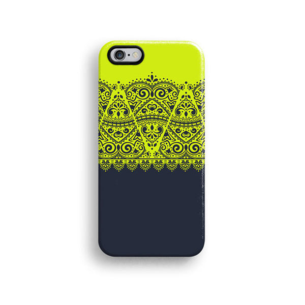 Lime and navy lace iPhone 7 case, iPhone 7 Plus case S600 - Decouart - 1